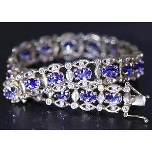 Jewelry - Ceylon Blue Diamond Bracelet 26.40 Carats White Go